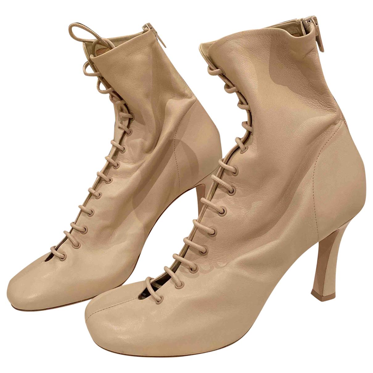 Celine - Bottes   pour femme en cuir - beige