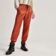 Pantalones PU unicolor de cintura con cordon