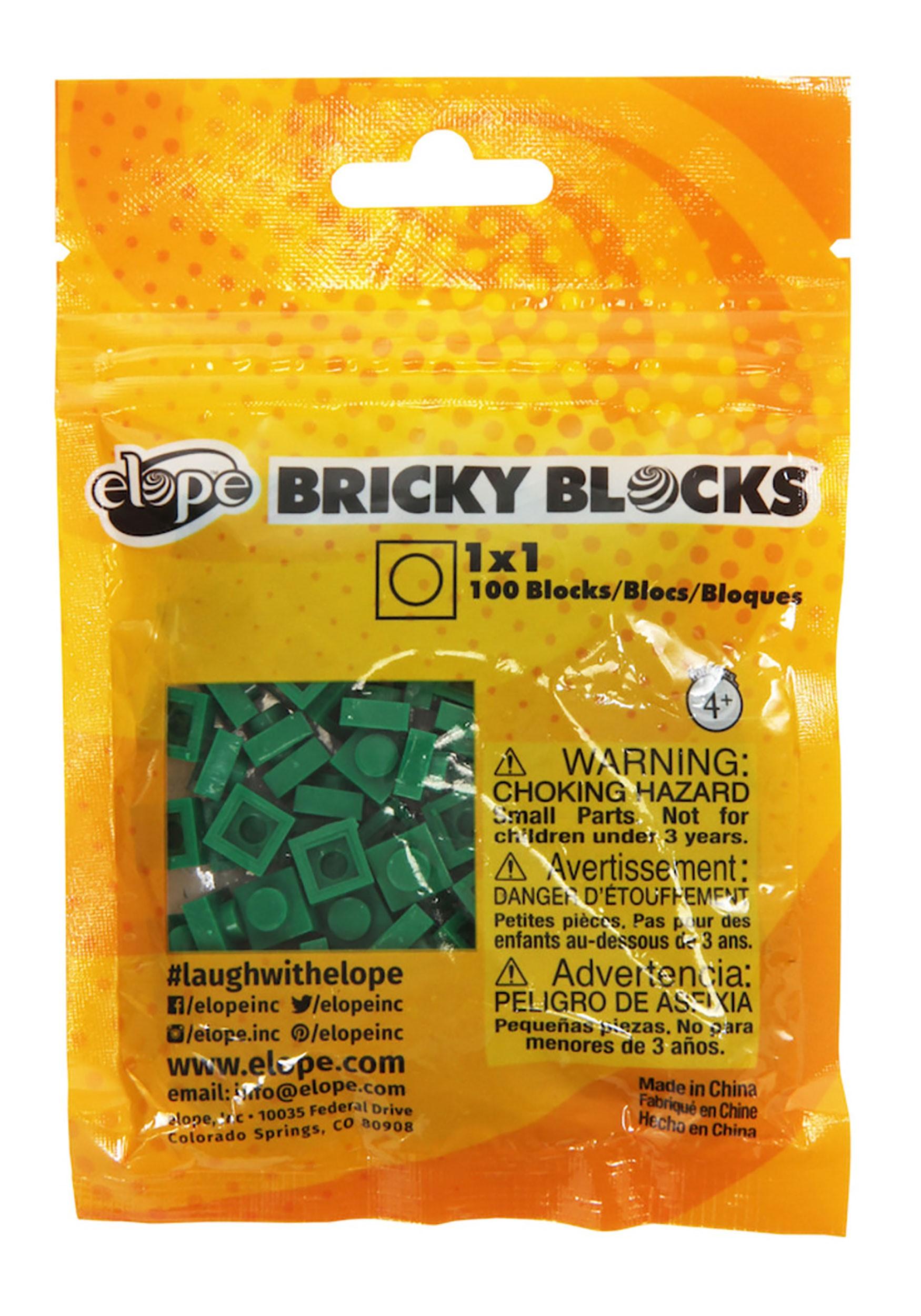 Green Bricky Blocks 100 Pieces 1x1