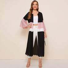 Colorblock Scallop Trim Self Belted Kimono