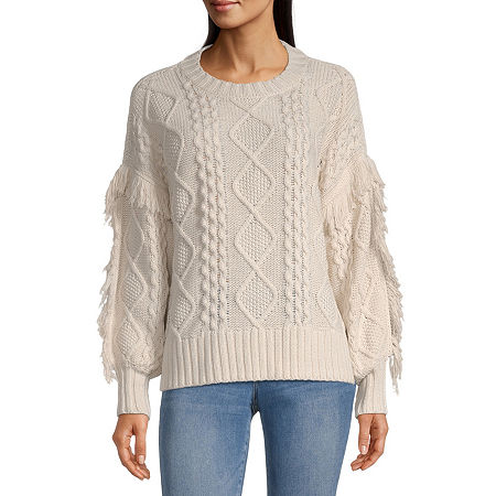 a.n.a Womens Crew Neck Long Sleeve Pullover Sweater, Petite Medium , Brown
