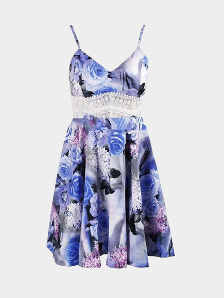 Yoins Floral Print Lace Insert Flounced Hem Cami Dress