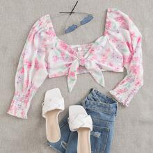 Tie Front Floral Print Shirred Top