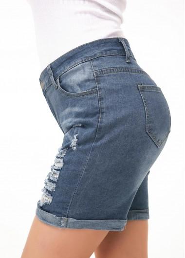 Button Up Shredded Denim Blue Shorts - L