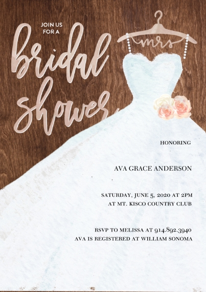 Wedding Shower Invitations 5x7 Cards, Standard Cardstock 85lb, Card & Stationery -Bridal Shower White Dress by Tumbalina