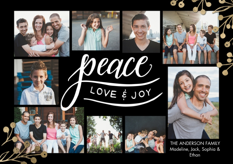 Christmas Photo Cards 5x7 Cards, Standard Cardstock 85lb, Card & Stationery -Holiday Peace Berries by Tumbalina