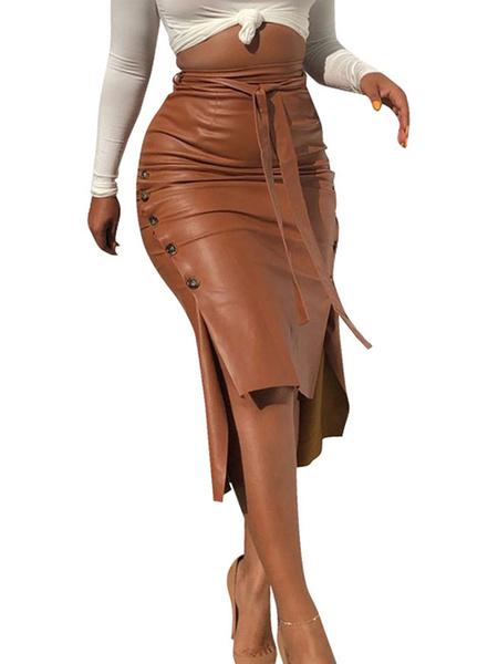 Milanoo Falda de mujer cafe marron con cordones de cuero de PU hasta la mitad de la pantorrilla, bodycon irregular, parte inferior de mujer