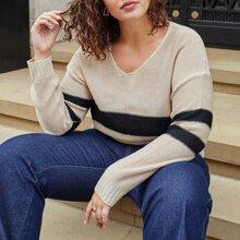 Pullover mit Farbblock und V-Kragen