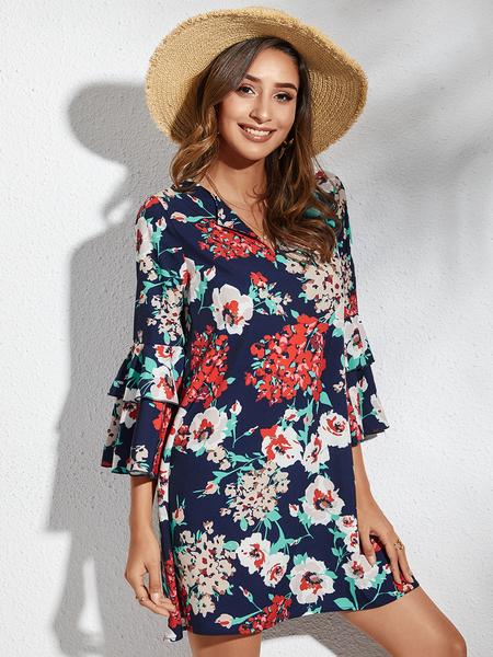 YOINS Navy Random Floral Print Ruffle Trim Bell Sleeves Dress