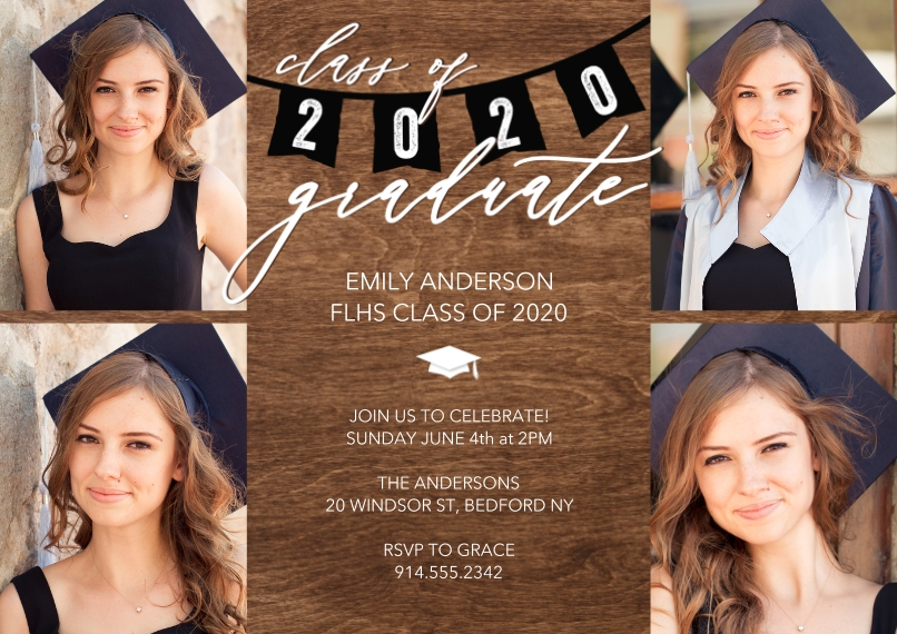 Graduation Invitations 5x7 Cards, Premium Cardstock 120lb with Elegant Corners, Card & Stationery -Grad Party 2020 Flags by Tumbalina