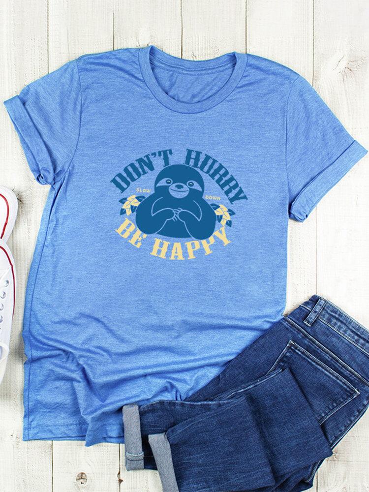 Cartoon Sloth Letter Print Short Sleeve T-shirt For Women