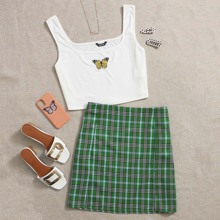 Plus Butterfly Embroidered Tank Top and Tartan Skirt Set