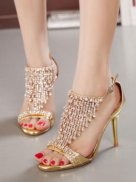 Milanoo High Heel Sandals Womens Rhinestones Open Toe Stiletto Heel Sandals