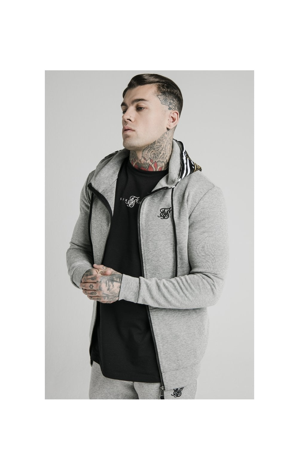 SikSilk Muscle Fit Zip Through Hoodie - Grey Marl MEN SIZES TOP: Large