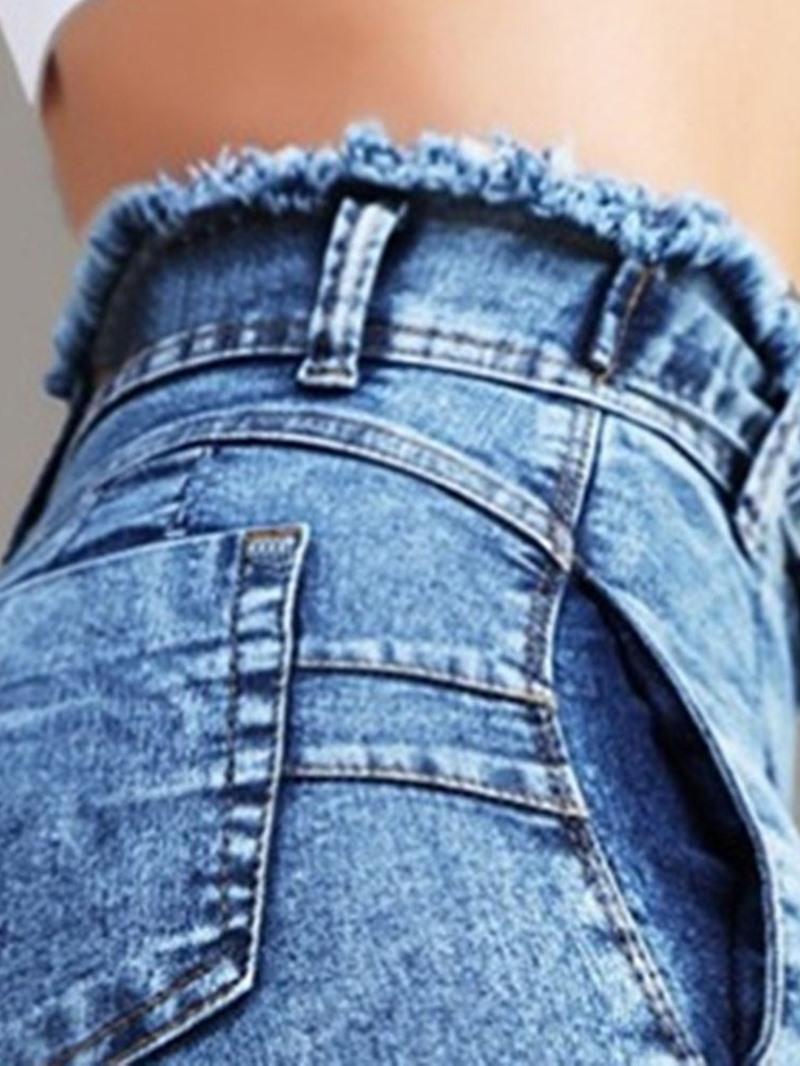 Ericdress High Waist Plain Bowknot Lace-Up Jeans