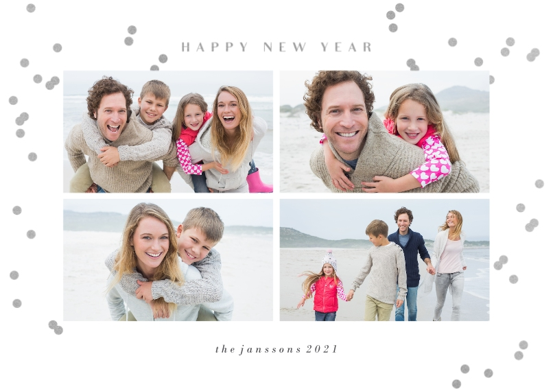 New Year's Photo Cards 5x7 Cards, Premium Cardstock 120lb, Card & Stationery -Confetti New Year