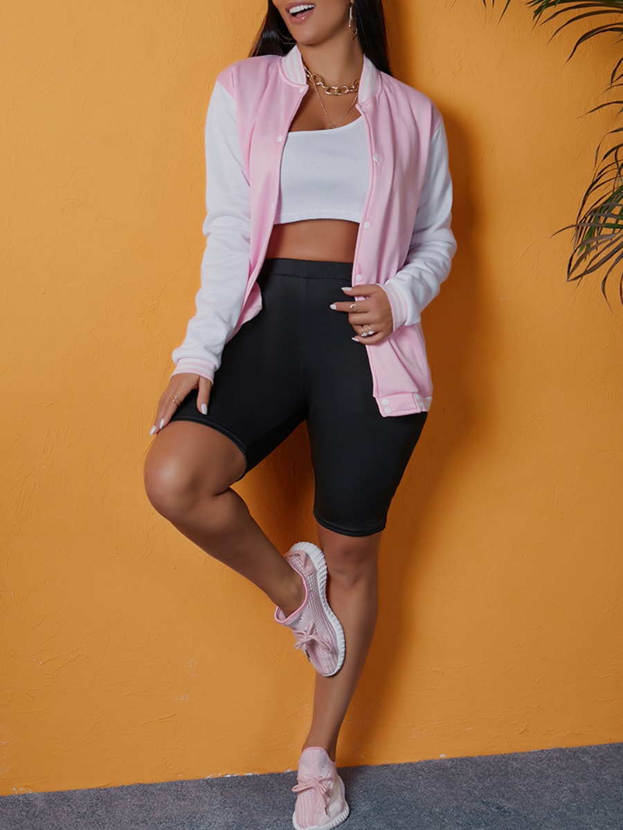 LW lovely Casual Patchwork Zipper Design Pink Jacket