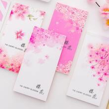 4pcs Flower Print Note Pad