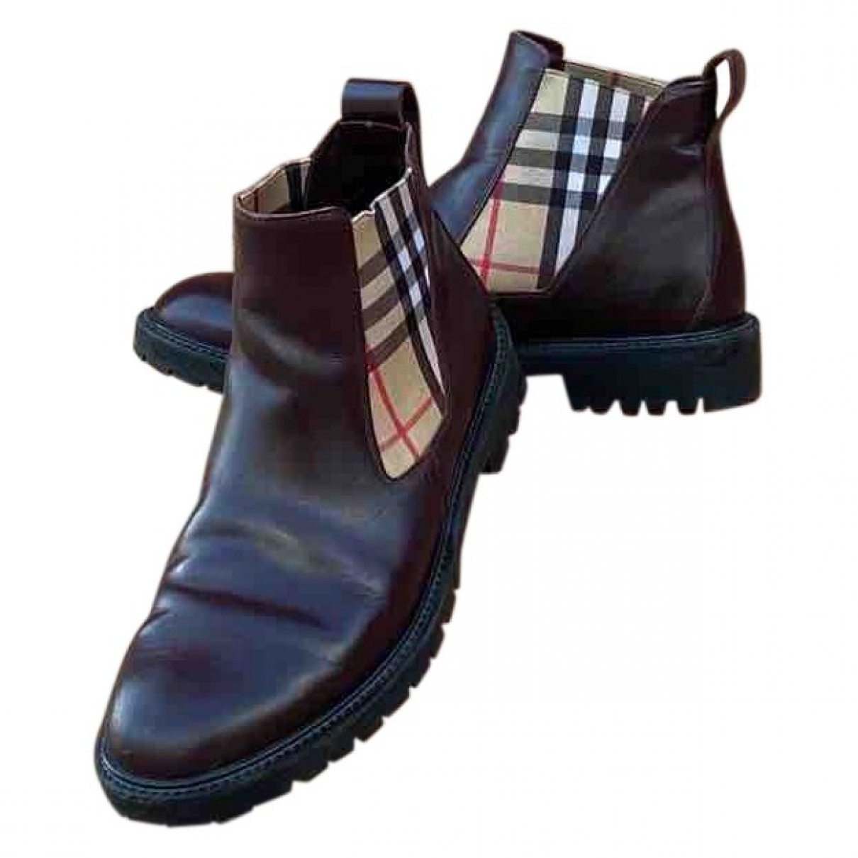 Burberry \N Burgundy Leather Boots for Men 41.5 EU