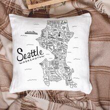 Map Print Cushion Cover Without Filler