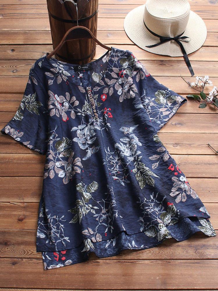 Floral Print O-neck Button Short Sleeve Irregular Hem Blouse