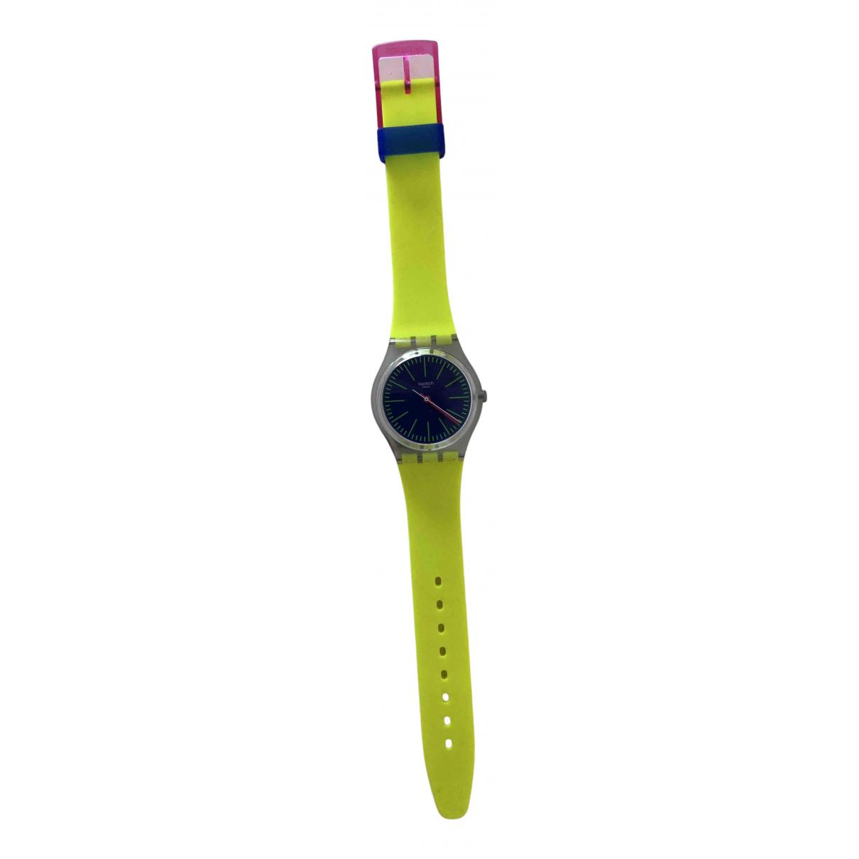Swatch - Montre   pour femme en acier - jaune
