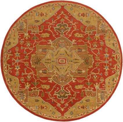Caesar CAE-1147 4' Round Traditional Rug in Rust  Tan  Camel  Medium