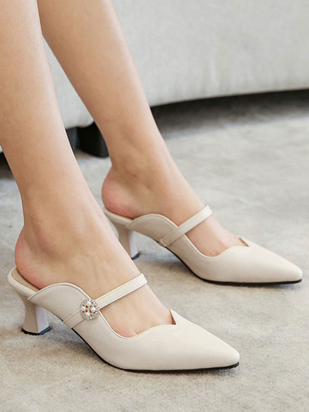 Milanoo Woman\'s Mid-Low Heels Elegant Pointed Toe Goblet Heel Slip-On Elegant Ecru White Mules