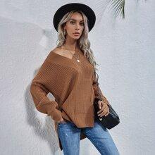 V-neck Split High Low Hem Sweater