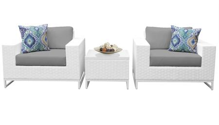 Miami MIAMI-03b-GREY 3-Piece Wicker Patio Furniture Set 03b with 2 Club Chairs and 1 End Table - Sail White and Grey
