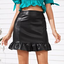 PU Ruffle Hem Mini Skirt