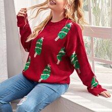 Plus Christmas Ice Cream Pattern Sweater