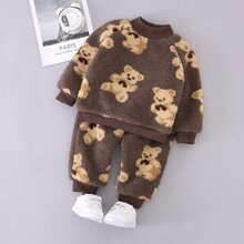 Toddler Girls Allover Cartoon Bear Teddy Sweatshirt With Sweatpants