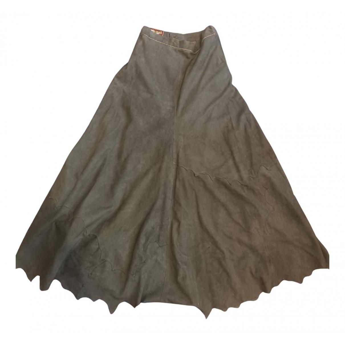Roberto Cavalli N Green Suede skirt for Women XS International