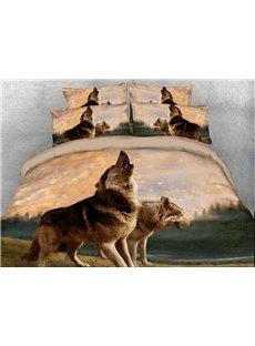 Wolves Howling Digital 4-Piece 3D Bedding Sets/Duvet Covers
