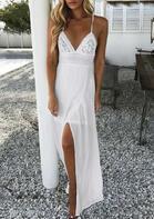 Lace Splicing Slit Tie Spaghetti Strap Maxi Dress - White