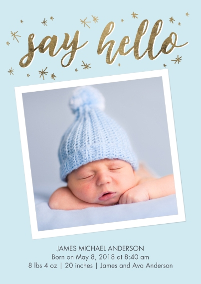 Baby Boy Announcements Flat Glossy Photo Paper Cards with Envelopes, 5x7, Card & Stationery -Baby Blue Stars
