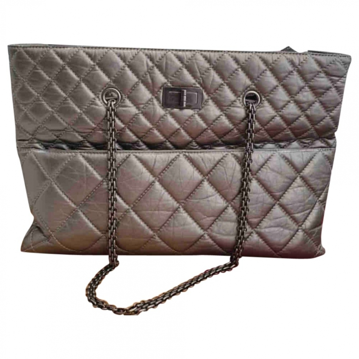 Chanel 2.55 Silver Leather handbag for Women \N