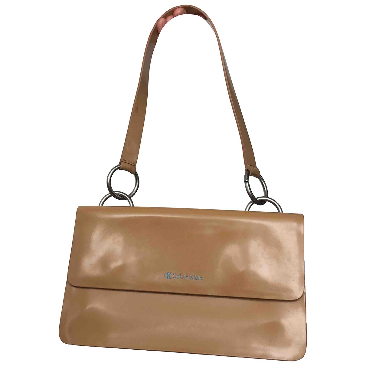 Calvin Klein \N Handtasche in  Beige Leder
