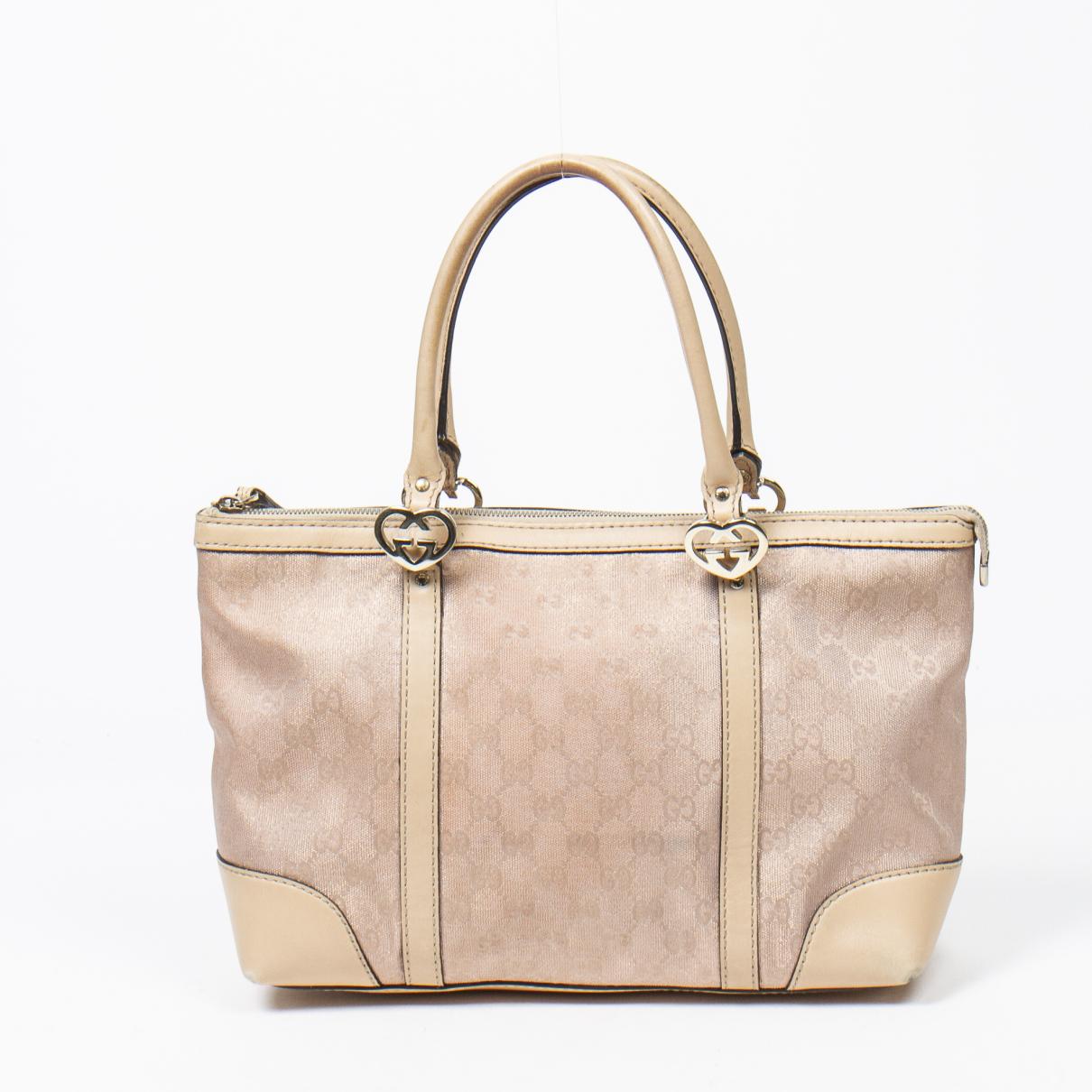 Gucci Interlocking Handtasche in  Beige Baumwolle