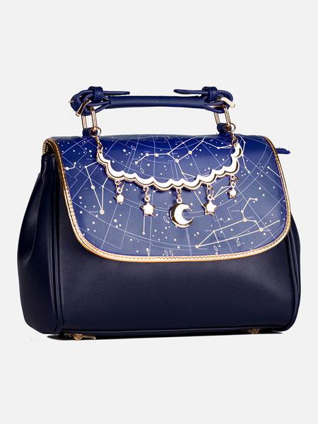 Milanoo Classic Lolita Bag Constellation Galaxy Print Blue PU Leather Lolita Handbags
