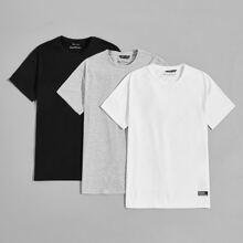 3 Packe T-Shirt mit Flicken Detail