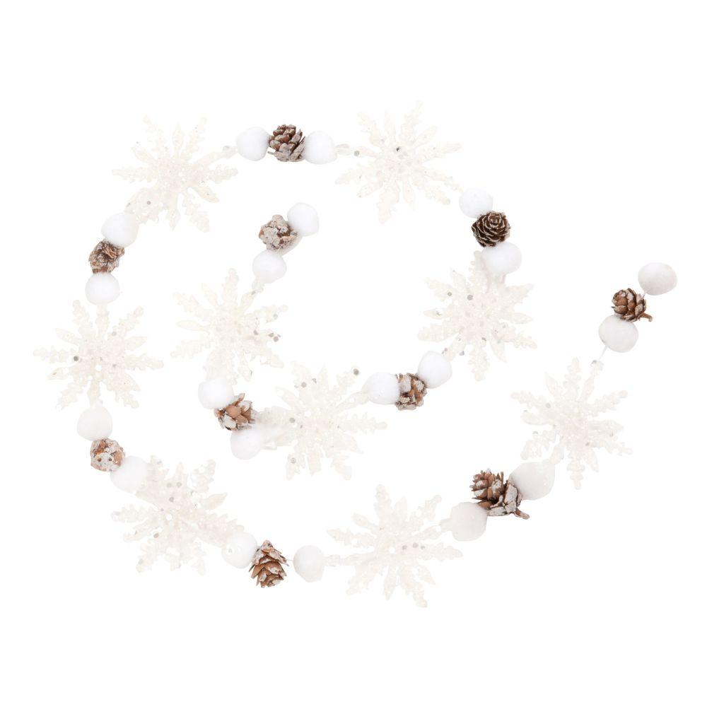 Weihnachtsgirlande mit Schneeflocken und Tannenzapfen, L110