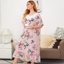 Plus Eyelet Embroidered Ruffle Trim Lace Hem Floral Nightdress