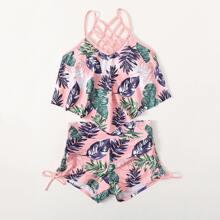 Bikini Badeanzug mit tropischem & Gitter Muster und seitlichem Band