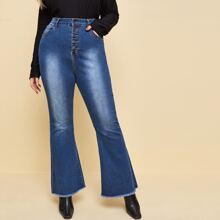 Plus Buttoned Fly Raw Hem Flare Leg Jeans