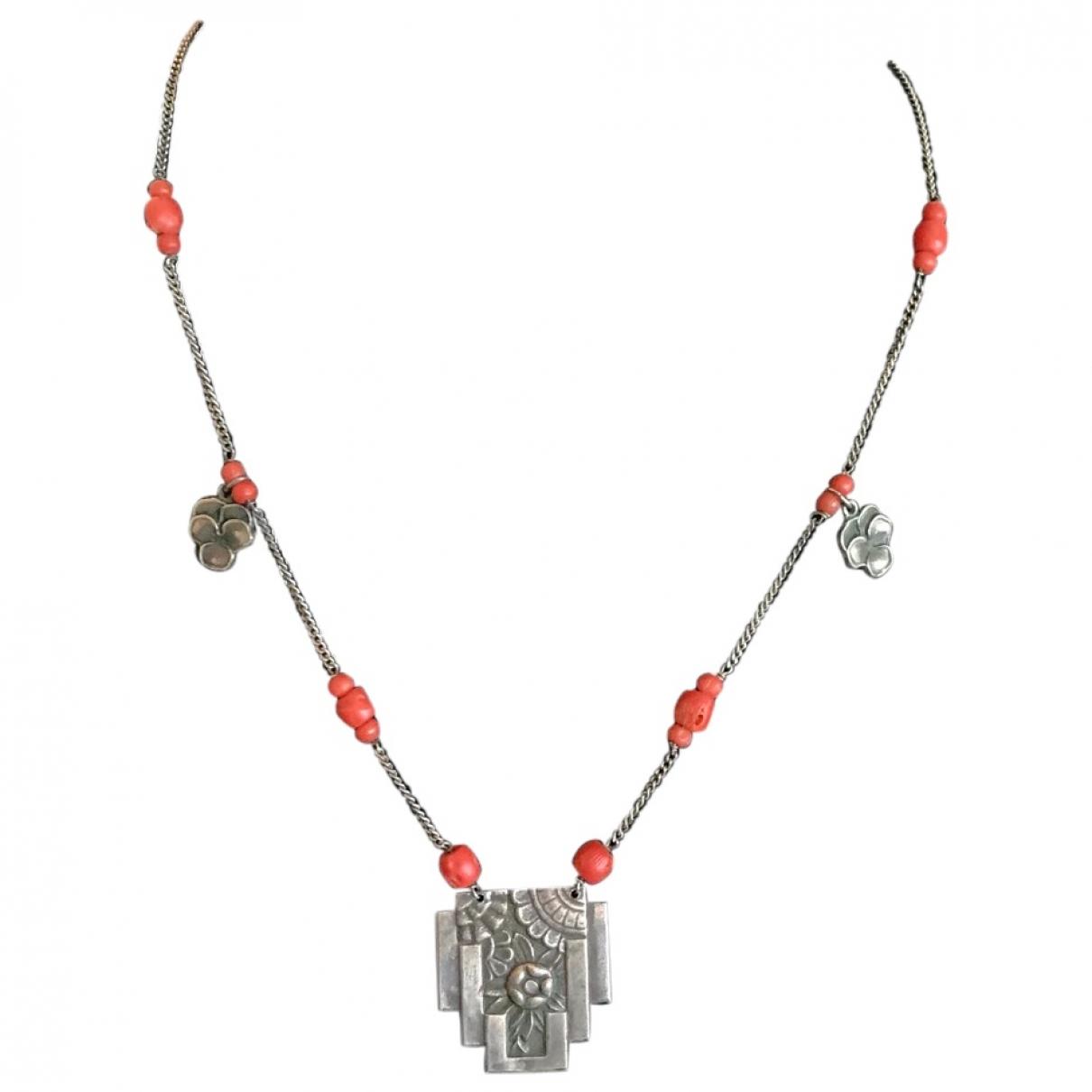 Non Signe / Unsigned Corail Kette in  Silber Silber