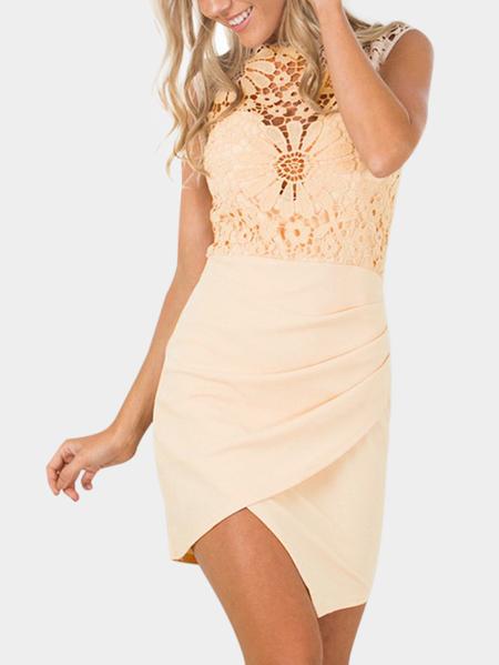 Yoins Beige Lace Insert Crew Neck Sleeveless Mini Dress