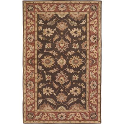 Caesar CAE-1036 6' x 9' Rectangle Traditional Rug in Dark Brown  Clay  Tan  Camel  Taupe