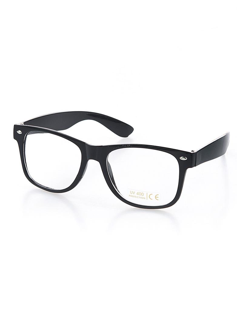 Kostuemzubehor Brille Nerd schwarz